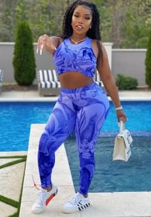 Conjunto de calças e top decotado com estampa sexy bodycon