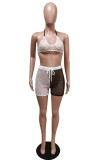 Sommer Color Block Fishnet Sexy BH und Shorts 2PC Set