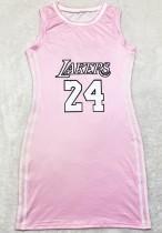 Vestito canotta sportivo rosa con stampa estiva O-Collo
