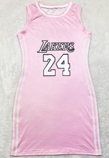 Vestido regata esportivo rosa estampado com decote em O