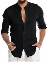 Blusa negra de manga larga elegante informal de otoño para hombre
