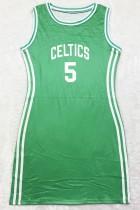 Vestito da canotta sportiva verde con stampa estiva O-Collo