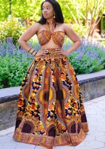 Summer African Dashiki Print Halter Top and Maxi Skirt 2PC Set