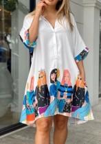 Sommer-Print weißes lässiges Blusenkleid
