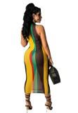 Sommerfest Sexy Multicolor Durchsichtiges Midikleid mit Rundhalsausschnitt
