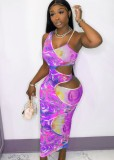 Mouwloze midi bodycon-jurk met uitgesneden zomerprint