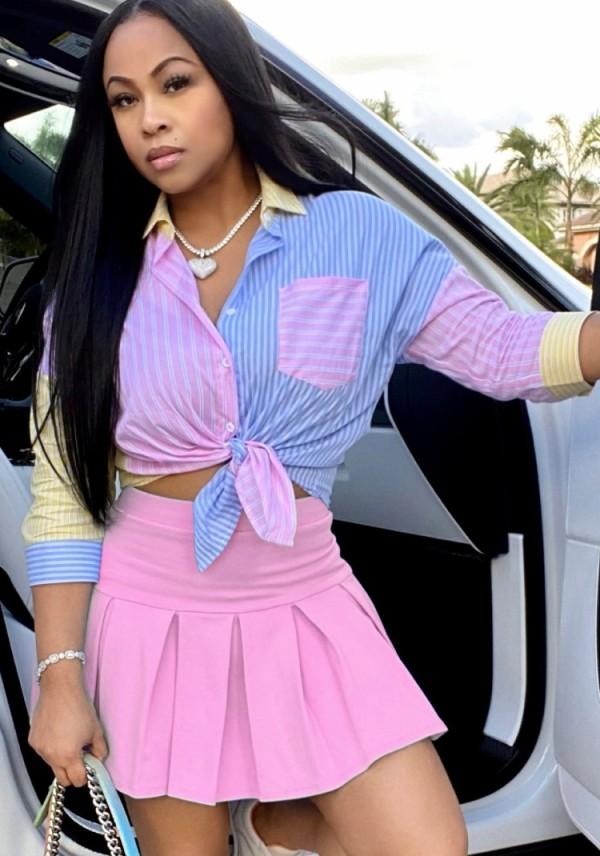Blusa de manga larga de rayas casuales de verano y minifalda plisada a juego con 2 piezas