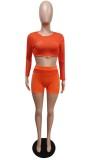 Sommer Orange Sexy Langarm Crop Top und Shorts 2PC Set