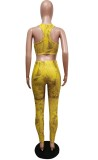 Sommer Sexy Print Bodycon Crop Top und Hosen Set