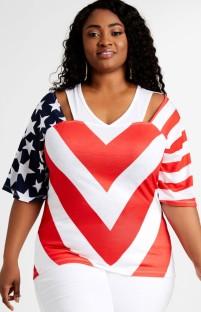 Camisa normal com estampa de bandeira de verão plus size