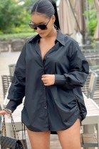 オータム ブラック ロング スリーブ サイド ストリングス ブラウス ドレス