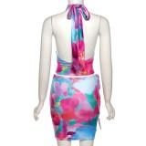 Sommer Print Floral Wrap Neckholder Crop Top und Minirock 2er Set XNUMX