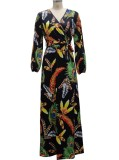 Herbst-Print Elegantes Langarm-Wrap-langes Maxikleid mit passendem Gürtel