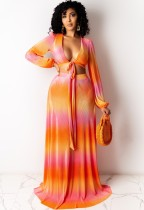 Conjunto de 2 piezas de falda larga y top corto de manga larga elegante multicolor de verano