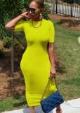 Vestido a media pierna con cuello en O delgado verde casual de verano