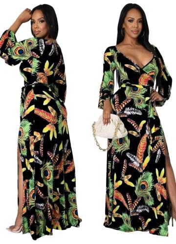 Robe longue portefeuille élégante à manches longues et imprimé d'automne avec ceinture assortie