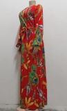Vestido largo largo cruzado elegante de manga larga con estampado de otoño con cinturón a juego