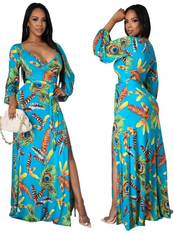 Осеннее элегантное длинное платье макси с длинным рукавом с запахом и подходящим поясом