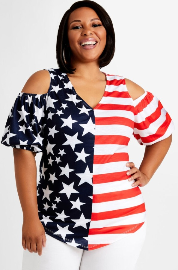 Sommer Plus Size Flag Print Regular Hemd mit Cut-Outs