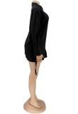 Herbst Schwarzes Langarm-Blusenkleid mit seitlichen Schnüren