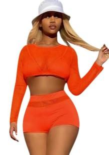 Conjunto 2PC de manga comprida longa sexy laranja verão corte top e shorts