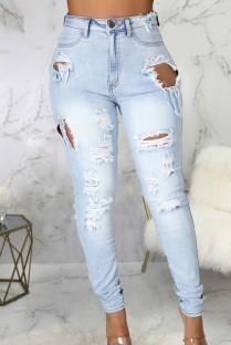 Zomerblauwe gewassen jeans met hoge taille en scheuren