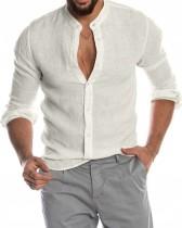 Camicetta bianca a maniche lunghe elegante casual da uomo autunno