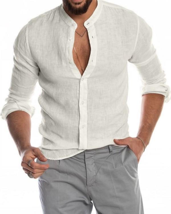 Blusa blanca de manga larga elegante informal de otoño para hombre