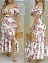 Summer Sexy Floral O-Ring Crop Top y Conjunto de falda larga