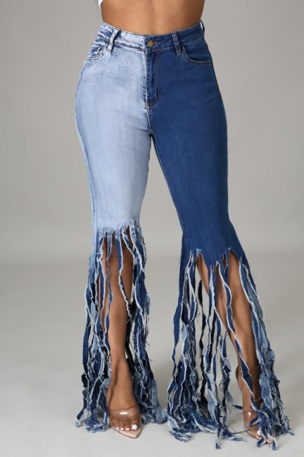 Jeans acampanados con flecos y cintura alta de bloque de color de verano