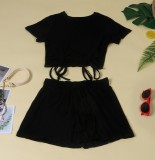 Summer Casual Black Strings Crop Top y Drawstrings Shorts 2PC Set