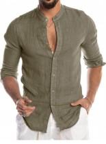 Blusa verde de manga larga elegante casual de otoño para hombre