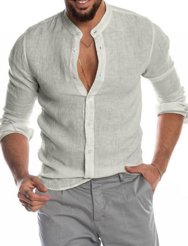 Blusa gris de manga larga elegante casual de otoño para hombre