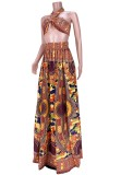 Sommer African Dashiki Print Neckholder Top und Maxirock 2PC Set