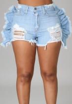 Pantalones cortos de mezclilla rasgados con volantes de cintura alta lavados de verano azul