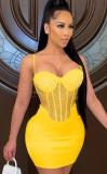 Vestido ajustado de fiesta con correa sexy con cuentas amarillo de verano