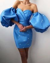 Yaz Resmi Puf Kol Sweetheart Stars Mini Kokteyl Elbisesi