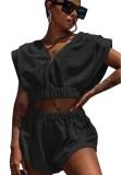 Chándal de verano casual negro de dos piezas con pantalones cortos