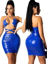 Sommer Blau PU Leder Sexy Cut Out Neckholder Bodycon Kleid