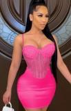 Vestido ajustado de fiesta con correa sexy con cuentas rosa de verano