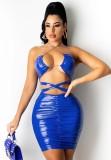 Vestido ajustado con cuello halter recortado sexy de cuero PU azul de verano