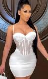 Vestido ajustado de fiesta con correa sexy con cuentas de verano blanco