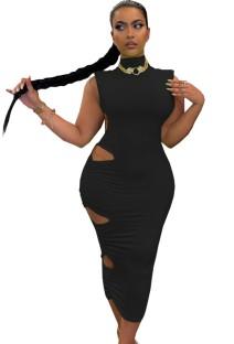 Zomer elegante zwarte uitgesneden coltrui mouwloze midi-jurk