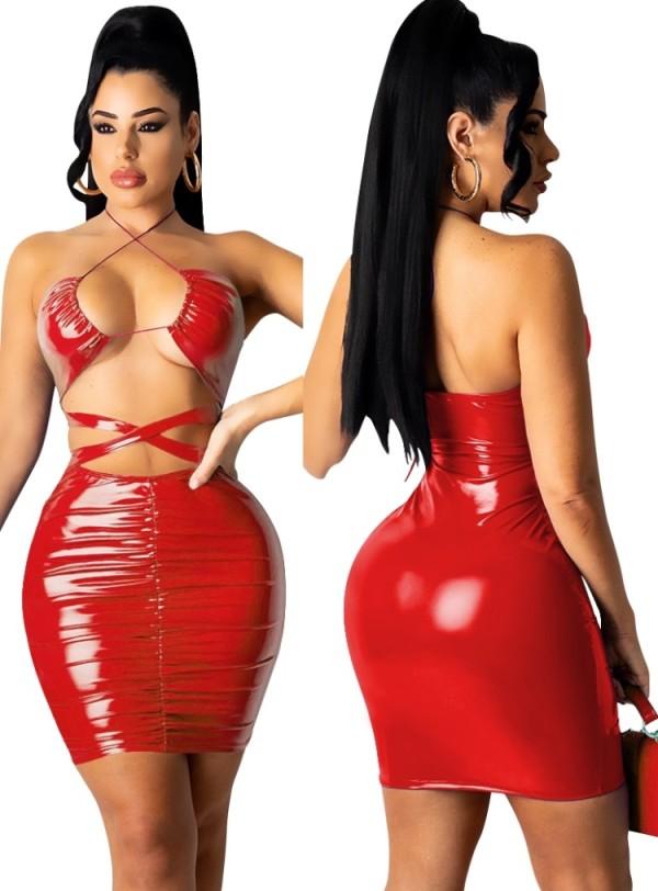 Vestido ajustado con cuello halter recortado sexy de cuero PU rojo de verano