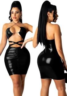 サマー ブラック レザー セクシー カットアウト ホルター ボディコン ドレス