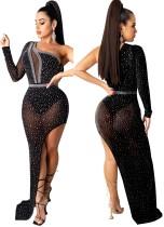 Yaz Resmi Siyah Boncuklu Tek Omuz Düzensiz Uzun Abiye Elbise