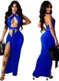 Summer Blue Sexy O-Ring Halter Crop Top y Conjunto de falda larga irregular