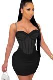 Vestido ajustado de fiesta con correa sexy con cuentas de verano negro