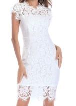 Vestido midi elegante de encaje blanco de verano