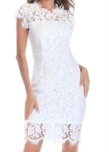 Zomerse witte kanten elegante midi-jurk